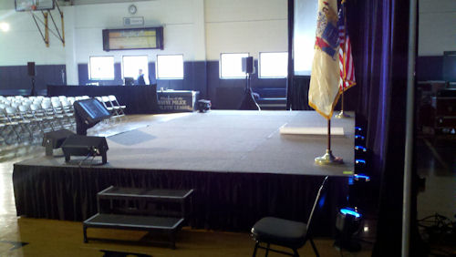 12 ft x 24 ft carpeted stage