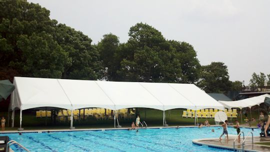 40 x 80 gable end frame tent poolside