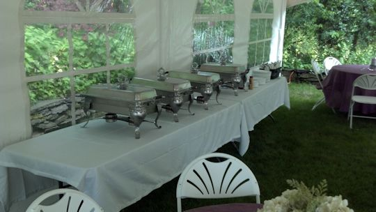 buffet tables with royal crest chafers