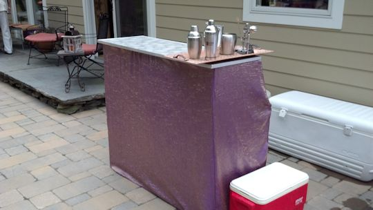 bar cover in claret to match table linens