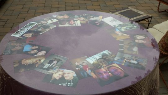 lucite table topper with couples photos