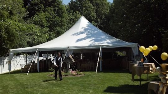 40 x 60 pole tent with bar buffet and dance floor