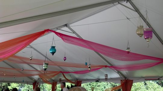 party under 40 x 80 frame tent with up lights