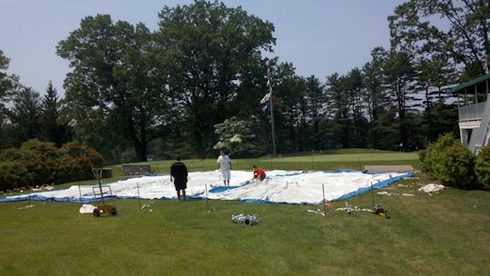 Installtion of a 40 x 60 White pole tent