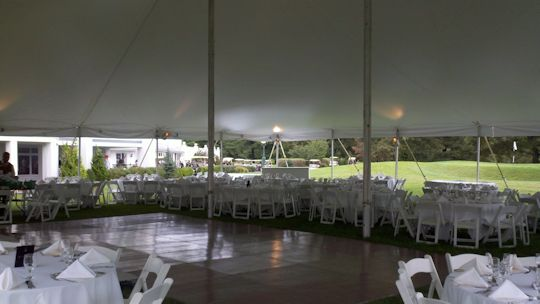 twin center pole white 60 x 60 tent with dance floor