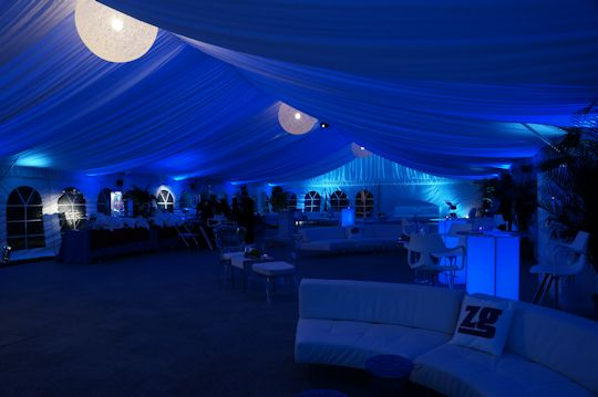 birthday party under white sided tent