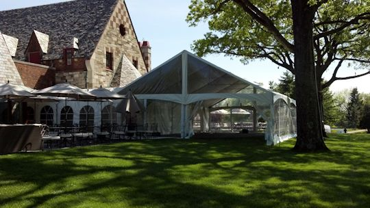 Tent installed with clear side walls and clear ends