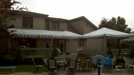 12 x 30 Frame Awning with a 15 x 15 frame tent on a deck