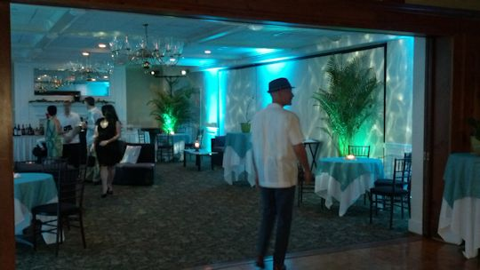 Caribbean Themed decor and led turquoise uplights