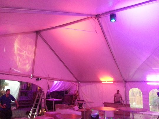 led up lights in tent for dance floor