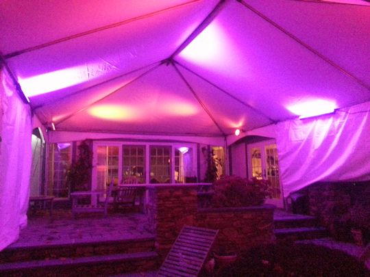 atmosphere up lighting in tent over patio