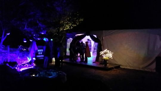 entrance of tent for halloween party