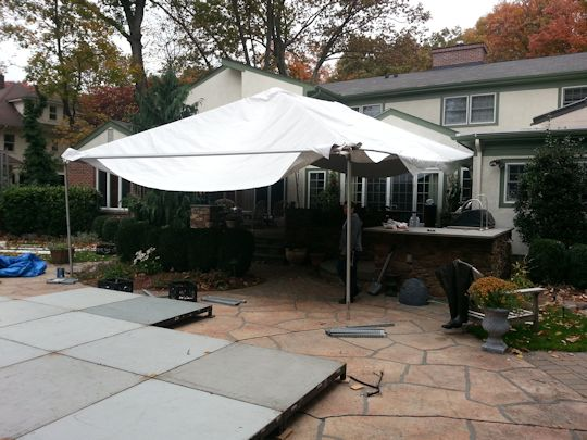 tenting installed over patio