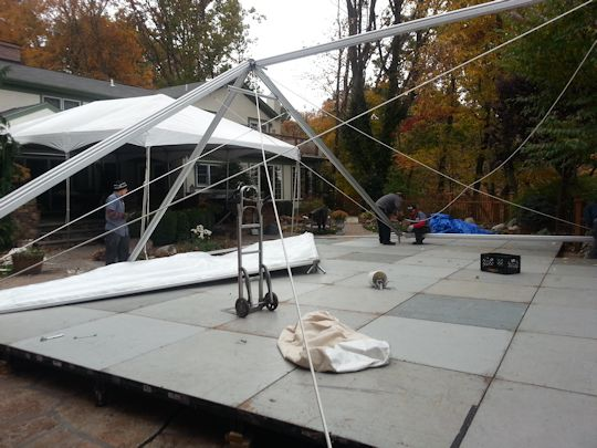40 foot wide gable tent installed over floor
