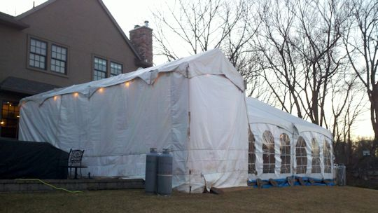 10 ft x 30 ft walkway tent on 14ft legs