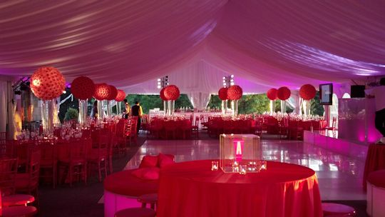 40x90 gable tent pink up lights