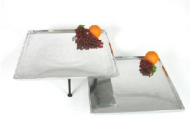 "20"" and 18"" Square Aluminum Trays with Optional Stands"