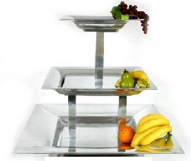 Three Tiered Stacking Aluminum Tray