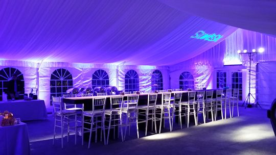 40 foot wide gable end frame tent with liner and up lighting