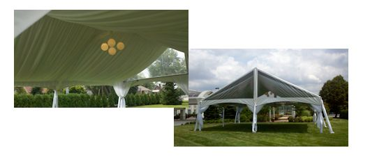 30 x 30 gable frame tent with and without tent liner