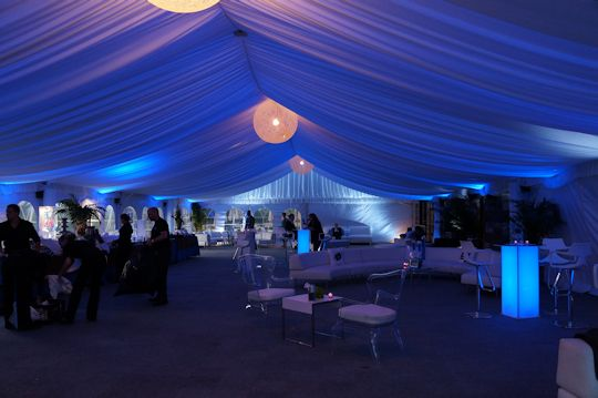 40 foot wide gable frame tent with royal blue back lit led lights