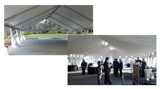 40 foot wide gable frame tent with and without tent liner