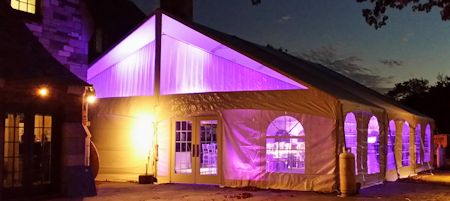 40 foot wide gable frame tent from outside