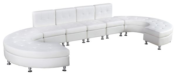 Ottoman White With Chrome. White Leather Sectional Couches