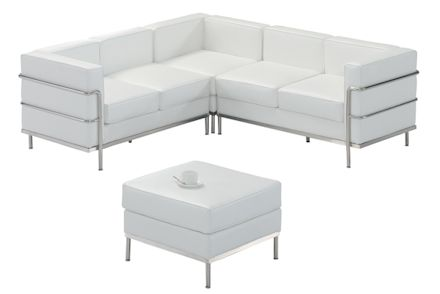 Ottoman and couch White leather with Chrome