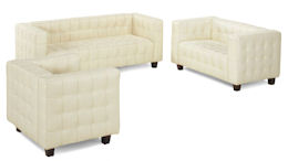 White button Leather Sofa