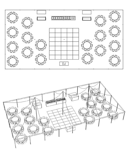 A party center tent calculator for Sideboard 80 x 40